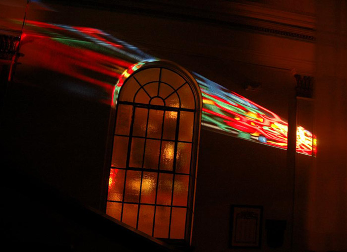 john Shipman, The Temptations of St. Clair installation with projected image, 2008