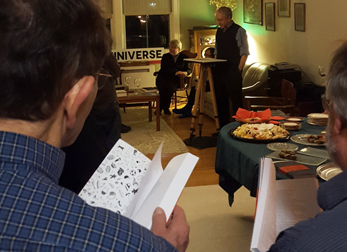 John Shipman, group reading The Endless Proverb at launch party, 2015