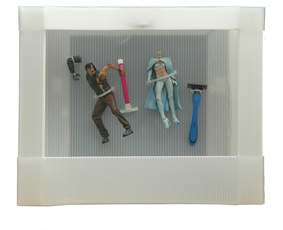 Broken action figures with razors, Museum of Gender Archaeology, 2011